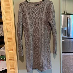 Taupe Knee-length Cable Knit Sweater Dress - Small